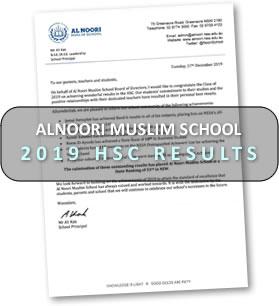 AlNoori Muslim School 2019 HSC results letter
